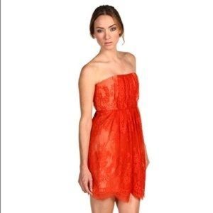 Tibi strapless lace and silk dress